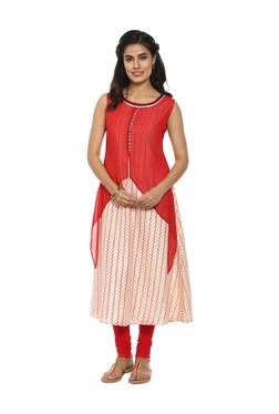 Soch Red & Off White Printed Georgette Kurta