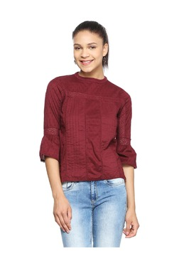 People Maroon Self Print Cotton Top