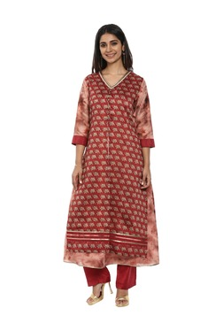 905ad1ce77d591 Soch Maroon & Beige Printed Cotton Kurta With Pants