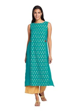 Global Desi Turquoise Printed Polyester Kurta - Mp000000003243898