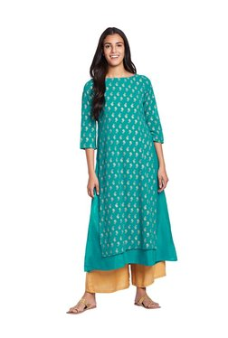 Global Desi Turquoise Printed Polyester Kurta - Mp000000003244847