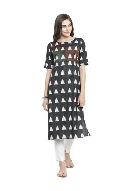 Varanga Black Geometric Print Cotton Kurta