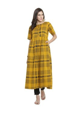 Varanga Mustard & Black Cotton Blend Kurta With Pants