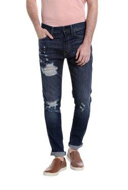 Jack & Jones Blue Distressed Skinny Fit Jeans
