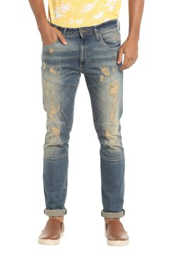 Jack & Jones Blue Skinny Fit Distressed Jeans