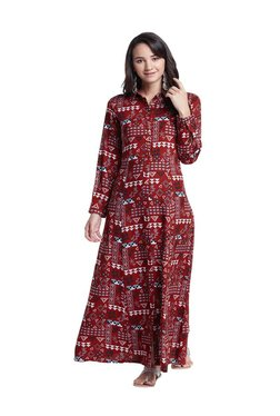 Global Desi Red Printed Maxi Gown