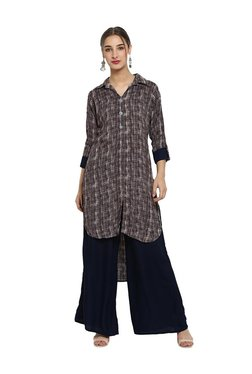 Ziyaa Multicolor Rayon High Low Kurta With Palazzo