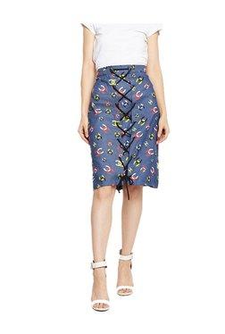 MEEE Navy Printed Knee Length Cotton Skirt