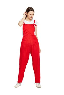 MEEE Red Rayon Jumpsuit