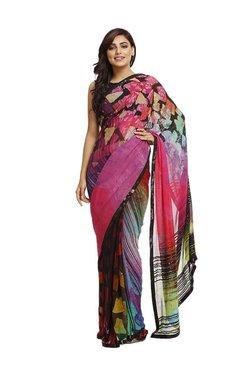 Satya Paul Black & Pink Printed Saree