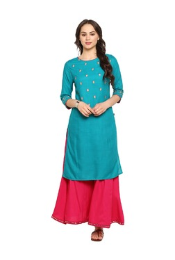 Juniper Teal Embroidered Kurta With Palazzo