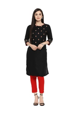 Juniper Black Embroidered Kurta With Pants