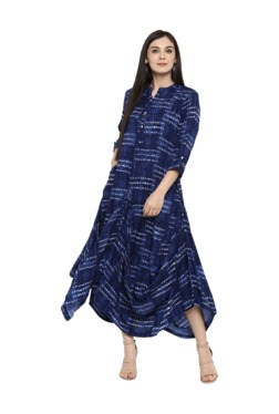 Juniper Navy Printed Rayon Maxi Dress