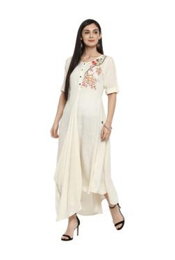 Juniper Cream Embroidered Rayon Maxi Dress