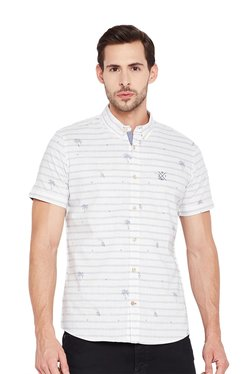 Tom Tailor Off White Printed Button Down Collar Shirt