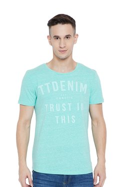 Tom Tailor Mint Green Regular Fit Printed T-Shirt