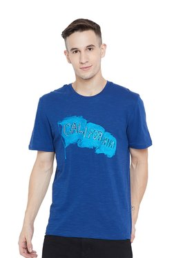 Tom Tailor Blue Printed Round Neck Cotton T-Shirt