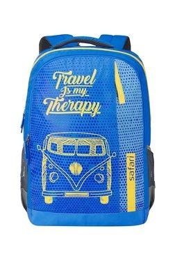 Safari Travel Bug Blue & Yellow Printed Backpack