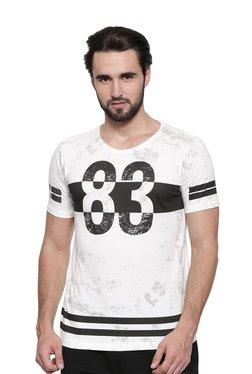 Proline White Printed Round Neck T-Shirt