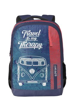 Safari Travel Bug Blue & Red Printed Backpack