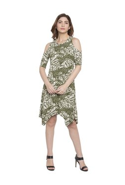 Globus Green Printed Knee Length Dress