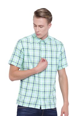 Cottonworld Green Short Sleeves Cotton Checks Shirt