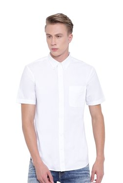 Cottonworld White Button Down Collar Shirt