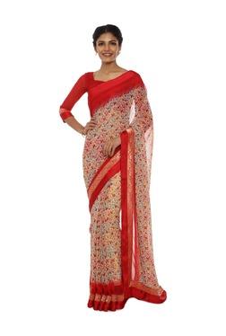 00286f27133 Soch Beige   Red Printed Georgette Saree