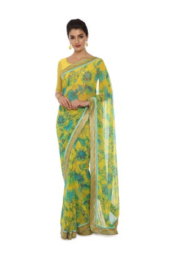 Soch Yellow Floral Print Georgette Saree