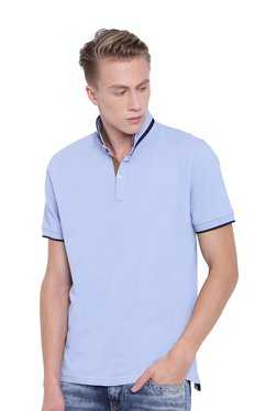 Cottonworld Light Blue Cotton Regular Fit T-Shirt