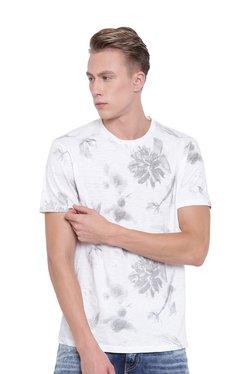 Cottonworld White Printed Cotton Round Neck T-Shirt