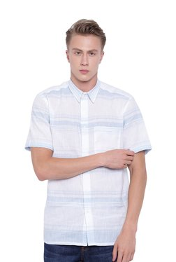 Cottonworld White Striped Short Sleeves Shirt