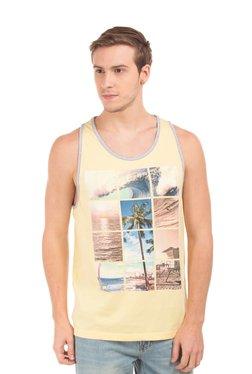Aeropostale Yellow Printed Sleeveless T-Shirt