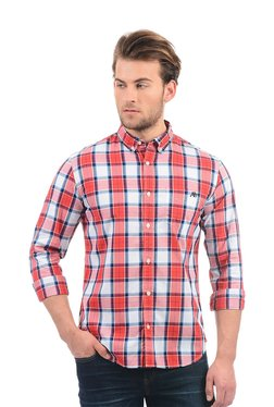 Aeropostale Coral Checks Button Down Collar Shirt
