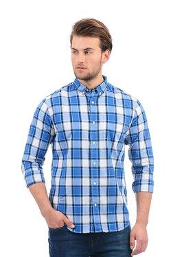 Aeropostale Blue Button Down Collar Checks Shirt