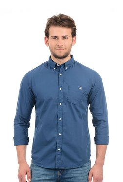 Aeropostale Dark Blue Solid Button Down Collar Shirt