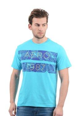 Aeropostale Turquoise Cotton Round Neck Printed T-Shirt