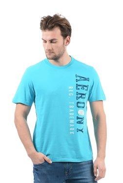 Aeropostale Turquoise Round Neck Cotton Printed T-Shirt
