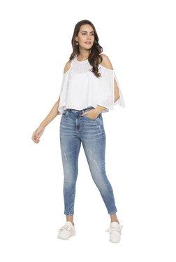 Globus Blue Skinny Fit Distressed Jeans