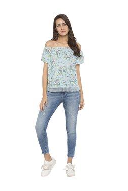 Globus Blue Floral Print Off Shoulder Top