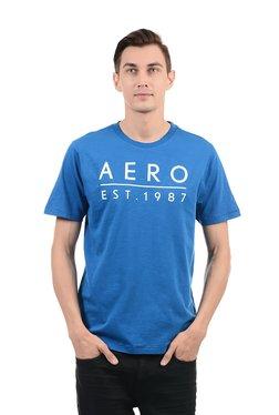 Aeropostale Blue Printed Round Neck Cotton T-Shirt