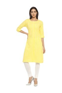 Soch Yellow Striped Cotton Kurta