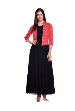 Athena Black Maxi Dress With Attached Jacket