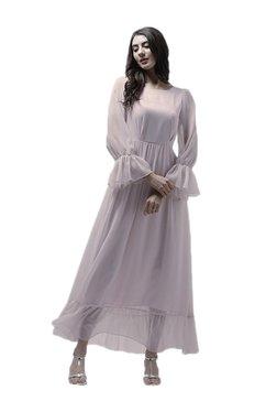 Athena Pink Textured Maxi Ruffled Dress