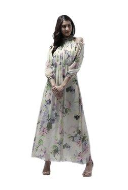 Athena Yellow Floral Print Maxi Ruffled Dress