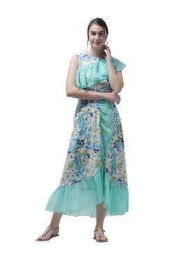 Athena White & Green Printed Midi Dress