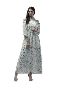 Athena Off White Floral Print Maxi Ruffled Dress