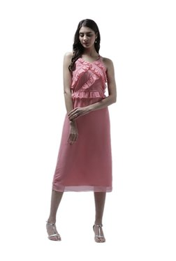 Athena Pink Textured Midi Ruffled Dress