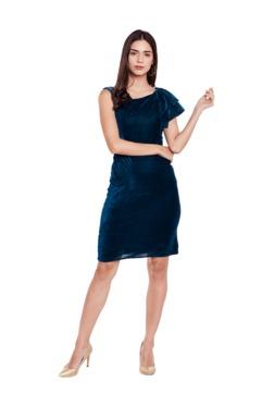 Athena Teal Embellished Knee Length Velvet Dress