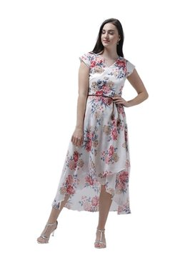 Athena White Floral Print Midi Dress